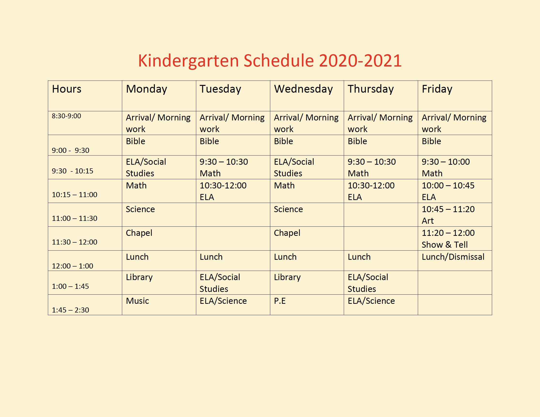 Kindergarten Schedule March 2021