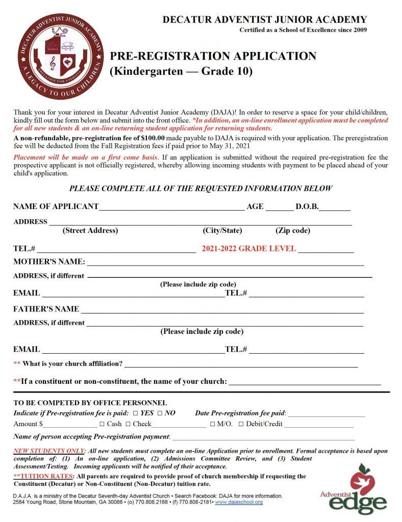 DAJA Pre-Registration Application